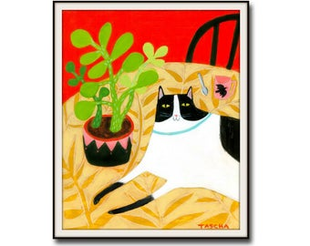 Poster Print Black and White CAT folk art painting PRINT cute cat art cat on table with succulent cactus plant cat wall decor by Tascha