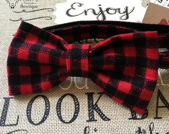 Red & Black Checkered Bow Tie and Collar