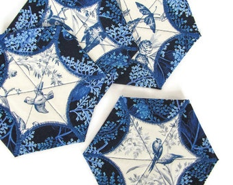 Quilted Coasters - Set of Four; Star Coasters; Coaster Set; Quilted Blue Bird Coasters; Table Accessories