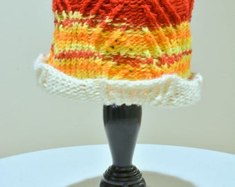 Fiery Knit Ripple Cable Hat