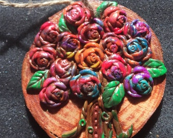Many Colors Rose Tree Wall Hanging