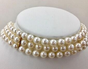 ANTIQUE Vintage Estate 14k Gold Japanese Akoya Sea Cultured Pearl Choker Necklace / 3 Strands