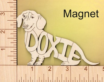 Doxie Dachshund Dog laser cut and engraved wood Magnet
