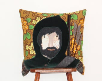 Robin Hood cushion cover - handmade using applique with recycled fabrics