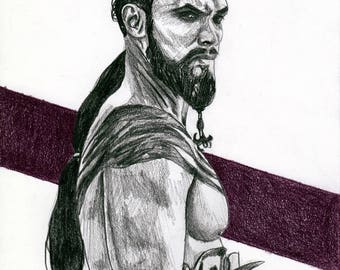 Jason Momoa / Khal Drogo - original pencil sketch - size A5