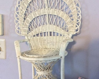 45PercentoffDolls White wicker doll chair large size, wicker back chair, large doll chair, vintage doll chair, white wicker chair for large