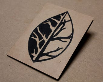 One / Handmade Card / Linocut Print / Mountain Art / Tree Art