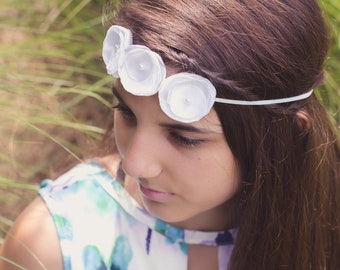 White Singed Flower Headband * Wedding Headband * Flower Girl Headband *