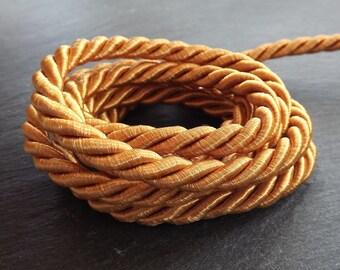 Honey Mustard Yellow 7mm Twisted Rayon Satin Rope Silk Braid Cord - 3 Ply Twist - 1 meters - 1.09 Yards