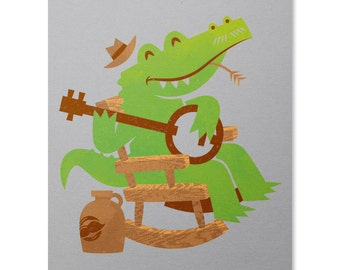 Sweet Home Alligator Print / Alligator Art Print / Banjo Print / Crocodile Print / Music Wall Art / Animal Art Print / Home Decor / 8 x 10