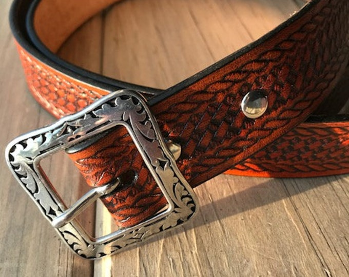 Western Leather Belt in Antique Saddle Tan (1-1/4 inch width)