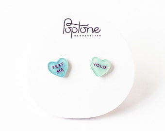Custom Message Valentine Earrings, valentines gift for her, conversation heart studs, candy heart earrings