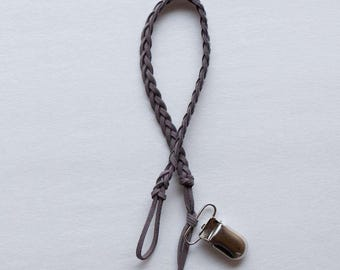 Gray Braided Leather Pacifier Clip