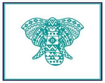 Aztec Elephant Decal - Elephant Decal - Aztec Decal - Aztec Elephant Car Decal - Window Decal - Laptop Decal- Elephant Car Decal - Boho