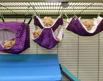3 piece set SMALL rat hammocks cube fringe double ferret hammock chinchilla hammock pet hammock