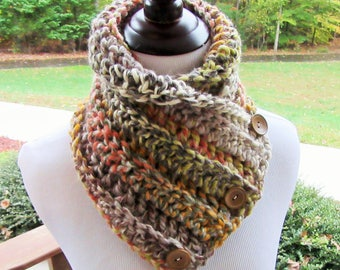 Chunky Scarf, Button Cowl, Crochet Scarf, Boston Harbor Scarf, Winter Accessory, Gift for Her, Christmas Gift, Handmade, Autumn Colors