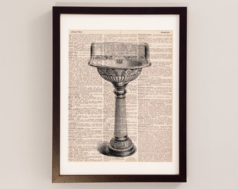 Vintage Sink Dictionary Art Print - Plumbing Art - Gift For Plumber - Print on Vintage Dictionary Paper - Victorian Pedestal Sink Art