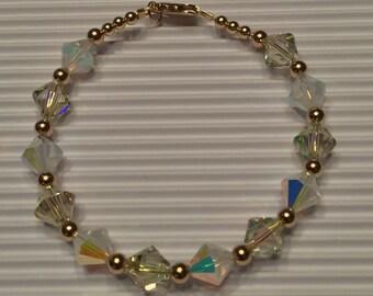 Crystal Green and White Opal Swarovski Gold Bracelet