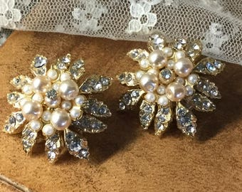 Absolutely Totally Wedding Worthy Clear Rhinestone Faux Pearl Encrusted Gold Tone Earrings Unsigned Clip On 1980's 1990's For the Bride