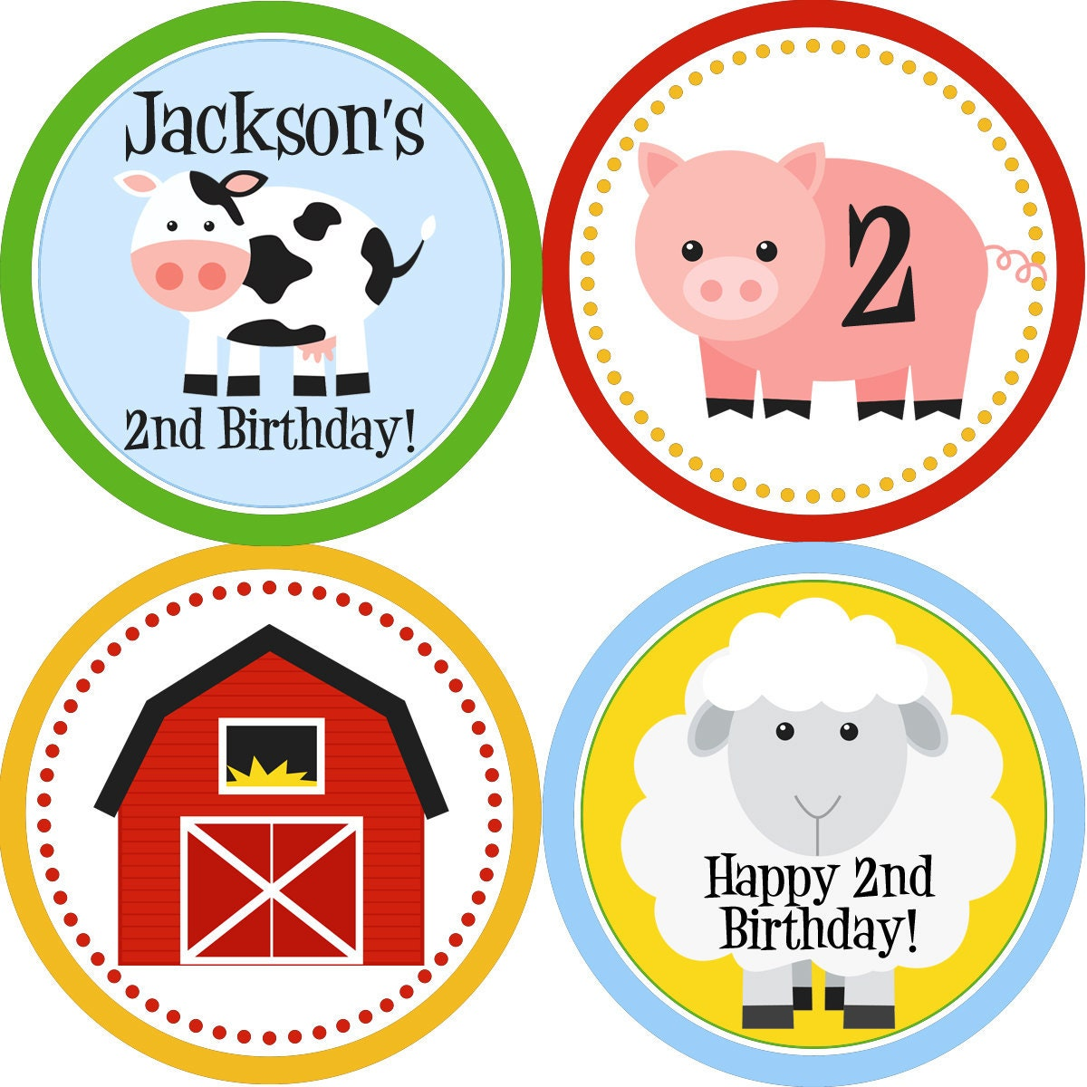 Farm Party Circles Colorful Barn Animals Cow Sheep And Pig