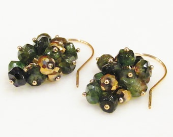 Green Tourmaline Earrings / Green Gemstone Earrings / Gold / Tourmaline / Moss / Green / Olive / Forest / Cascade / Cluster / Handmade