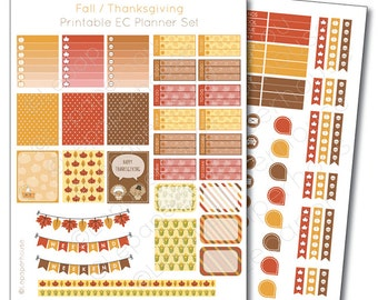 Fall / Thanksgiving Printable Planner Sticker Set, Erin Condren Life Planner, Instant Download