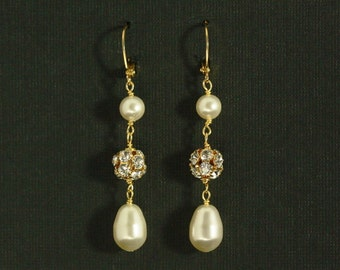 Pearl Bridal Earrings, Gold Bridal Earrings, Pearl Drop Earrings, Long Pearl Earrings, Gold Pearl Bridal Jewelry -- PORTIA