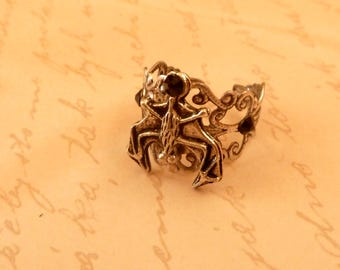 Filigree Ring with Bat Gothic Vampire Jewelry Gift for him and her