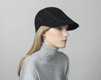 Womens felt visor ,  Mens Felt Hat , Cap for men ,  Womens hat , Mens visor , Winter hat , Hat Winter , Black Hat , Women winter hat black