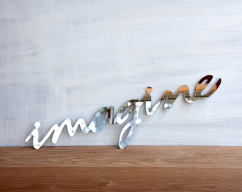 Wall Decor Mirror Word Imagine - walll art, handwriting, typography, wall sign, signage