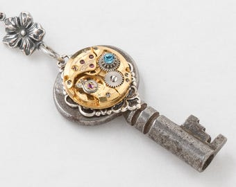 Vintage Skeleton Key Necklace with Gold Watch Movement & Blue Crystal, Silver Flower, Filigree Victorian Key Pendant Steampunk Jewelry Gift