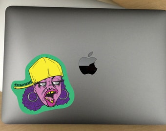 Hip Hop Zombie Chick Decal  -- For Cars, Laptops, and More!  -- Use Inside or Outside  -- Sicks To Any Flat Smooth Surface