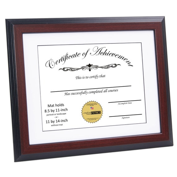 Certificate Frame Mahogany Displays 8 5 By 11 Inch W Mat Or