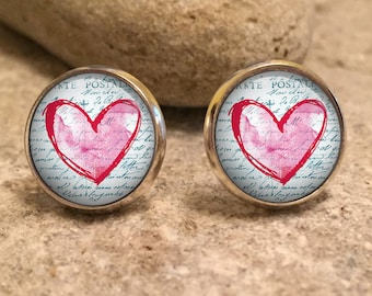 Heart Stud Earrings, Hearts, Love, Heart Earrings, Heart Jewellery, gift for her, wife gift, gift for wife, christmas gift, christmas gifts