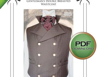 Sweeney Todd Style Waistcoat Sewing pattern. Steampunk, Gothic, wedding, instant Pdf download