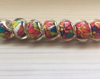Europeen charms beads Murano style Silver plated 14 mm