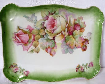 """Edwardian Dressing Table Tray Continental China Pink Roses and Gooseberries Green Border 9"""" x 7"""""""
