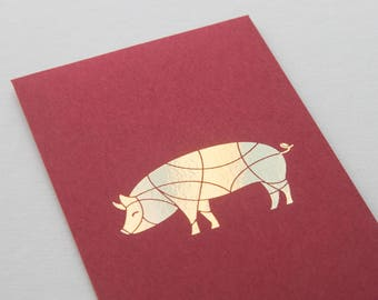 2 gold-foiled Chinese red envelopes - Pig