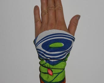 """arm warmers women wax African and fleece wrist warmers """"olive stone"""" button and elastic closure orange vintage"""