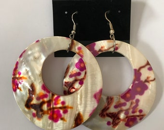 Hand painted Floral Shell Earrings
