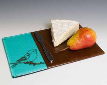 Bird Fused Glass Cheese Platter, Warbler, Blue and Brown, Cheese Platter