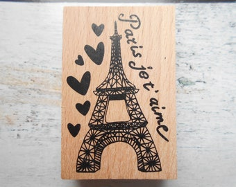 Eiffel tower Paris wooden rubber stamp I love you-individually