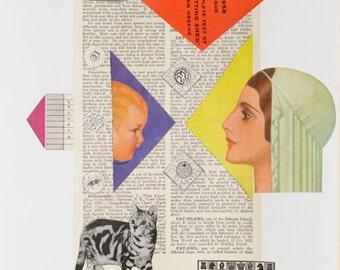 Mixed-Media-Kunstdruck - Katze Vogel