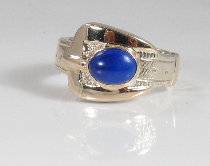 White Gold Lapis Lazuli Buckle Ring; White Gold Buckle Ring; Buckle Ring; Lapis Buckle Ring;  Lapis Ring
