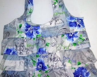 Blue Flower Ruffle Purse