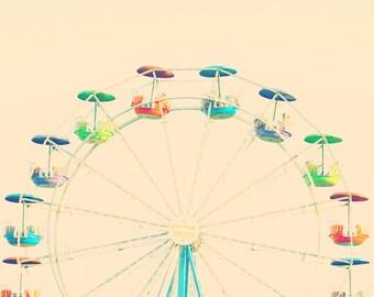Rainbow color art, Ferris wheel photo, colorful wall art kids, Rainbow room decor, Ferris wheel print, nursery wall art, toddler room decor