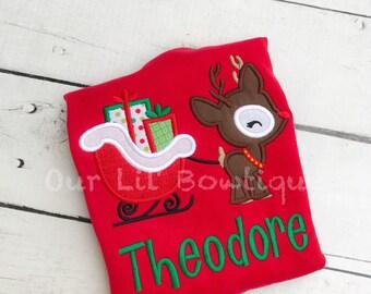 Santa Shirt - Girls Christmas Shirt - Santa - Boys Christmas Shirt - Boy Santa Shirt - Personalized - Reindeer Shirt - Christmas Shirt