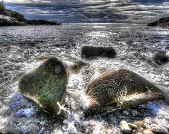 Glistening Rocks on the Beach, Acadia National Park, Maine, Landscape Print Photograph, Wall Decor