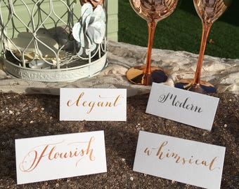 Handwitten Metallic Calligraphy Place Cards