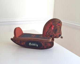 Vintage Rocking Horse Wooden Toy Pony Red Navy Little Jingle Bell Nose Ride 'Em Pony Kid! Rocker horsey